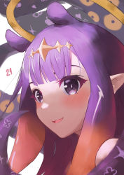 1girl, absurdres, bangs, blush, close-up, eyebrows behind hair, felipe (felipehiroshi), halo, highres, hololive, hololive english, looking at viewer, monogram, ninomae ina'nis, open mouth, pointy ears, purple eyes, purple hair, shoulders, smile, solo, tentacle, tentacle hair, virtual youtuber, white background