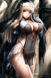 1girl, bare shoulders, blonde hair, breasts, commentary, covered navel, cowboy shot, english commentary, eyebrows visible through hair, gloves, habit, highres, kouson33, large breasts, long hair, looking at viewer, nun, original, revealing clothes, see-through, solo, standing, watermark