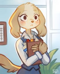 1girl, :<, absurdres, aggressive retsuko, animal ears, animal nose, artist name, blonde hair, blue background, blue skirt, blue vest, blush, blush stickers, body fur, book, closed mouth, collarbone, collared shirt, commentary, crossed arms, dog ears, dog girl, dog tail, english commentary, furry, highres, holding, indoors, inui (aggressive retsuko), long sleeves, looking ahead, office, office lady, pencil skirt, plant, shirt, signature, skirt, skirt set, solo, standing, sui (suizilla), tail, upper body, vest, white shirt, wide-eyed