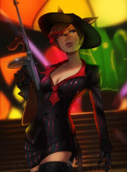 1girl, absurdres, bangs, benjamin (ivbenjaminart), breasts, brown hair, business suit, cleavage, commission, cowboy shot, final fantasy, final fantasy xiv, formal, garter straps, glasses, gloves, gun, hat, highres, holding, holding gun, holding weapon, lips, looking at viewer, mafia, medium breasts, miqo'te, multicolored hair, pinstripe suit, rimless eyewear, second-party source, short hair, skirt, skirt suit, solo, striped, suit, thighhighs, two-tone hair, weapon