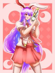 1girl, absurdres, animal ears, bangs, blouse, bunny ears, buttons, collared blouse, eyebrows visible through hair, gun, handgun, highres, holding, holding gun, holding weapon, light purple hair, long hair, looking at viewer, navel, necktie, open mouth, pink skirt, pleated skirt, puffy short sleeves, puffy sleeves, purple hair, red eyes, red neckwear, reisen udongein inaba, renzibun, short sleeves, skirt, solo, stomach, thighhighs, touhou, very long hair, weapon, white blouse, white legwear