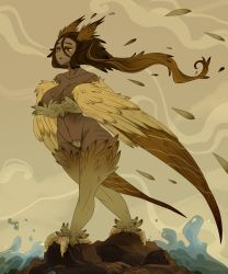 Rule 34 | 1girl, absurdres, bird tail, body markings, breasts, brown eyes, brown feathers, brown hair, choker, commentary, dark skin, dark skinned female, english commentary, feathered wings, feathers, gradient hair, harpy, head feathers, highres, inverted nipples, large breasts, lefantis1, long hair, monster girl, multicolored hair, navel, original, rock, solo, spiral, standing, tail, tail feathers, talons, very long hair, water, waves, wide hips, winged arms, wings, yellow feathers