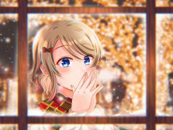1girl, aqua eyes, artist name, artist request, birthday, blue eyes, blush, bow, breasts, brown hair, checkered, checkered scarf, female focus, fingers together, grey hair, hair between eyes, hair bow, happy birthday, highres, indoors, light brown hair, long sleeves, looking at viewer, love live!, love live! sunshine!!, mochi22mo, mochi (mochi22mo), nail, nail polish, own hands together, parted lips, pink nail polish, pink nails, red bow, scarf, short hair, smile, solo, sweater, upper body, watanabe you, white sweater, window