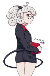 1girl, ahoge, ass, black horns, black miniskirt, black tail, business suit, collared shirt, curly hair, dated, demon girl, demon horns, flat ass, flat chest, formal, from behind, glasses, helltaker, holding, holding notepad, horns, looking at viewer, looking back, medium hair, miniskirt, notepad, pandemonica (helltaker), pantylines, pince-nez, prehensile tail, red eyes, red shirt, round eyewear, shirt, signature, silver hair, skirt, skirt suit, solo, suit, tail, tsukudani (coke-buta)