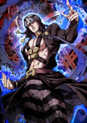 1boy, abs, belt, black coat, black headwear, black sclera, chest harness, closed mouth, coat, colored sclera, commentary request, cowboy shot, energy, glowing, hand up, harness, hat, hat bobbles, highres, jojo no kimyou na bouken, long sleeves, male focus, metallica (stand), navel, needle, pants, pectorals, razor, razor blade, red eyes, risotto nero, scissors, sewing needle, short hair, silver hair, solo, stand (jojo), striped, striped pants, vento aureo, yasuo (chisyu0204)