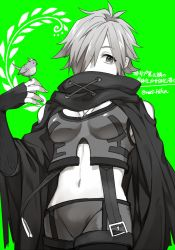 1girl, 2f sq, adapted costume, bird, bird on finger, breasts, cowboy shot, fate/extra, fate (series), fingerless gloves, genderswap, genderswap (mtf), gloves, green background, greyscale, hair over one eye, looking at viewer, medium breasts, midriff, monochrome, navel, pants, robin hood (fate), scarf, short hair, simple background, skin tight, solo