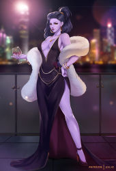 1girl, alternate hairstyle, artist name, backlighting, bare shoulders, black dress, black footwear, blurry, breasts, closed mouth, collarbone, colored skin, commentary, cup, depth of field, dress, drinking glass, earrings, english commentary, exlic, full body, fur coat, gold necklace, hand on hip, high heels, highres, holding, holding cup, hoop earrings, jewelry, looking at viewer, medium breasts, nail polish, necklace, overwatch, patreon username, ponytail, purple hair, purple nails, purple skin, red wine, solo, widowmaker (overwatch), wine glass, yellow eyes