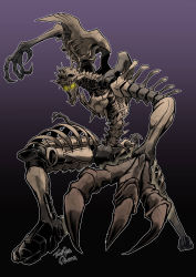 1boy, asymmetrical arms, beast wars, claws, fingernails, fossil, highres, long fingers, oohara tetsuya, paleotrex, predacon, purple background, sharp fingernails, signature, skeleton, transformers, transformers: war for cybertron trilogy, yellow eyes