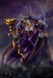 910pan, ainz ooal gown, cat, flaming eye, highres, holding, holding staff, jewelry, night, overlord (maruyama), purple sky, red eyes, ring, skeleton, staff, standing, tree