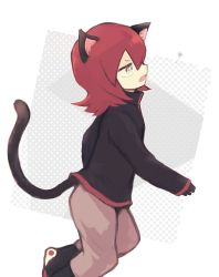 1boy, animal ears, bangs, beige pants, black footwear, black jacket, boots, bright pupils, cat boy, cat ears, cat tail, commentary request, creatures (company), from side, game freak, gloves, grey eyes, jacket, long sleeves, male focus, nintendo, open mouth, pants, pokemon, pokemon adventures, rakugakutari, red hair, silver (pokemon), solo, tail, tongue