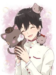1boy, :d, ^ ^, ^o^, black hair, black headwear, blush, bow, bubble, buttons, cape, chisaca, closed eyes, commentary request, eyebrows visible through hair, eyes closed, facing viewer, formal, gakuran, goggles, goggles on headwear, hagi (mewkledreamy), hair bow, hat, highres, holding, holding stuffed toy, ichigo junior high uniform, long sleeves, male focus, mewkledreamy, multicolored, multicolored background, on shoulder, open mouth, pink background, red bow, red ribbon, ribbon, school uniform, smile, sparkle, star (symbol), stitches, stuffed animal, stuffed cat, stuffed toy, sugiyama haruhito, suit, torn cape, torn clothes, tsugi (mewkledreamy), white background, white gakuran, white suit, yuni (mewkledreamy)