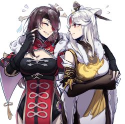 2girls, arms under breasts, beidou (genshin impact), black gloves, bodysuit, breasts, brown eyes, brown hair, chinese commentary, cleavage, cleavage cutout, clothing cutout, crossed arms, eyepatch, eyes closed, fingerless gloves, genshin impact, gloves, hair ornament, hair stick, hand on another's shoulder, highres, long hair, medium breasts, multiple girls, ningguang (genshin impact), one eye covered, sweatdrop, white background, white bodysuit, white hair, ye (1179164913), yuri
