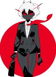1girl, alternate hair color, alternate skin color, animal ears, black jacket, black pants, black skin, business suit, cat ears, colored skin, colored tongue, earrings, floating necktie, formal, holding, holding suitcase, jacket, jewelry, kokubunji suou, kuroi moyamoya, long sleeves, mole, mole under mouth, necktie, negative, original, pant suit, pants, red background, red eyes, red neckwear, red theme, red tongue, shirt, short hair, smile, solo, standing, stud earrings, suit, suitcase, thigh gap, white hair, white shirt