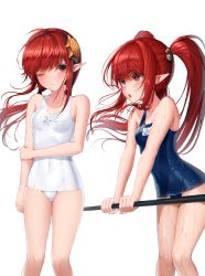 2girls, absurdres, blue swimsuit, blush, breasts, dungeon and fighter, eyebrows visible through hair, hair between eyes, highres, legs, long hair, looking at another, looking at viewer, multiple girls, name tag, one-piece swimsuit, one eye closed, open mouth, pointy ears, red eyes, red hair, school swimsuit, sidelocks, simple background, standing, swimsuit, thighs, twintails, wet, white background, white swimsuit, yjs0803123