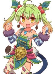 1girl, :d, ahoge, animal print, bandaid, bandaid on knee, bangs, bare shoulders, blush, bridal gauntlets, brown eyes, brown hair, brown legwear, clenched hands, collarbone, commentary request, dark-skinned female, dark skin, earrings, eyebrows visible through hair, fang, gradient hair, green hair, hair between eyes, hair bobbles, hair ornament, hands up, highres, jewelry, leaf hair ornament, leopard print, long hair, looking at viewer, multicolored hair, naga u, open mouth, overall skirt, print legwear, ricotta (ys), simple background, smile, solo, strap slip, striped, thighhighs, tooth necklace, torn clothes, torn legwear, twintails, white background, ys, ys viii lacrimosa of dana