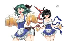 2girls, :d, ahoge, alternate costume, animal ears, apron, asymmetrical wings, barmaid, beer mug, black footwear, black hair, blue dress, blush, breasts, calf socks, cleavage, commentary, constricted pupils, cowboy shot, cup, curly hair, dress, embarrassed, eyes closed, frilled skirt, frills, green hair, hair between eyes, highres, holding, holding cup, houjuu nue, kasodani kyouko, large breasts, looking down, medium breasts, mug, multiple girls, open mouth, red eyes, short hair, simple background, skirt, smile, standing, standing on one leg, sunyup, tail, touhou, waist apron, white background, white legwear, wings