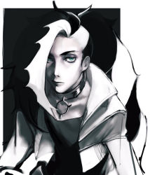 1boy, bangs, black hair, closed mouth, commentary request, creatures (company), cropped jacket, eyeshadow, game freak, green eyes, greyscale, gym leader, jacket, long hair, makeup, male focus, monochrome, multicolored hair, nintendo, nishidu, piers (pokemon), pokemon, pokemon (game), pokemon swsh, sketch, solo, two-tone hair, white hair