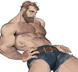 1boy, abs, arm hair, bara, beard, brown hair, bulge, character request, check character, check copyright, chest hair, copyright request, denim, denim shorts, facial hair, feet out of frame, hairy, horikwawataru, large pectorals, leather belt, leg hair, male focus, mature male, muscular, muscular male, mustache, navel, navel hair, nipples, original, pectorals, shirtless, short hair, shorts, solo, stomach, thick thighs, thighs