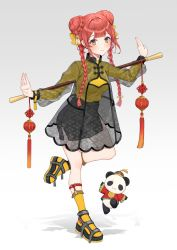 1girl, black footwear, black skirt, bow, braid, capelet, chinese clothes, closed mouth, double bun, full body, hair bow, hair over shoulder, highres, holding, holding staff, kneehighs, leg up, light blush, long sleeves, looking at viewer, original, outstretched arms, panda, red hair, ribbed sweater, sandals, see-through shirt, skirt, smile, solo, staff, strap, sweater, twin braids, usamochi., yellow bow, yellow eyes, yellow legwear, yellow sweater
