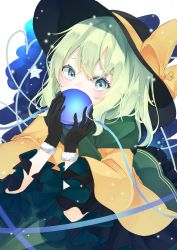 1girl, absurdres, bangs, black gloves, black headwear, blouse, bow, covering mouth, eyeball, eyebrows behind hair, frills, from above, fur trim, gloves, green eyes, green skirt, hair between eyes, hat, hat bow, highres, holding, komeiji koishi, light blush, light green hair, light particles, looking at viewer, medium hair, sabatuki, simple background, skirt, solo, star (symbol), third eye, touhou, white background, wide sleeves, yellow blouse, yellow bow