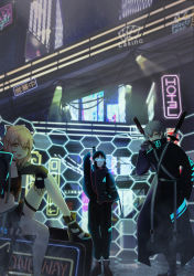 1girl, 2boys, :d, absurdres, arm up, black bow, black choker, black footwear, black jacket, black pants, bow, choker, cigarette, city, cyberpunk, fate/grand order, fate (series), goggles, grey hair, hair bow, highres, hijikata toshizou (fate), jacket, katana, looking at viewer, midriff, multiple boys, nagiuo, navel, neon lights, okita souji (fate), okita souji (fate) (all), open mouth, outdoors, pants, saitou hajime (fate), shoes, short hai, sitting, smile, smoking, standing, sword, thigh strap, weapon, zipper