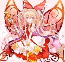 1girl, bangs, bare shoulders, blush, bow, bow dress, butterfly wings, character request, dress, eyebrows visible through hair, frilled dress, frills, hair between eyes, hair bow, hibi89, holding, holding spoon, layered dress, long hair, looking at viewer, merc storia, pointy ears, purple eyes, red bow, red dress, ribbon, sidelocks, solo, spoon, tiara, twintails, very long hair, wings, wrist cuffs