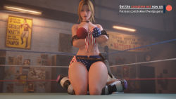 Rule 34 | 2girls, 3d, asphyxiation, blonde hair, bra, breasts, catfight, cleavage, crossed arms, crossover, dead or alive, dead or alive 5, defeat, defeated, domination, dominatrix, femdom, fight, fighting, gloves, headlock, held down, helpless, highres, kazama asuka, midriff, multiple girls, restrained, short hair, sitting, sitting on person, smile, submission hold, tekken, tekken7wallpapers, tekken 7, thick thighs, thighs, tina armstrong, underwear, wrestling, wrestling ring, yuri