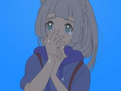 1girl, alternate color, aoaomzir, bangs, blue background, blue shirt, blunt bangs, blush, clenched teeth, commentary request, creatures (company), crying, eyelashes, fingernails, game freak, green eyes, grey hair, hands up, highres, lillie (pokemon), long hair, looking up, nintendo, pokemon, pokemon (game), pokemon sm, shirt, short sleeves, simple background, solo, tears, teeth, upper body