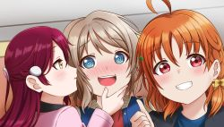 1girl, 3girls, absurdres, aqua eyes, artist name, artist request, baseball uniform, birthday, black jacket, blue eyes, blue shirt, blush, bow, breasts, brown hair, clover hair ornament, female focus, grey hair, hair between eyes, hair bow, hair ornament, hairclip, happy birthday, highres, jacket, light brown hair, looking at viewer, love live!, love live! sunshine!!, multiple girls, nail, nail polish, orange hair, parted lips, picture frame, pink jacket, pink nail polish, pink nails, red hair, red shirt, shirt, short braid, short hair, smile, solo, sportswear, taking picture, teeth, thumbs up, upper body, watanabe you, yellow bow