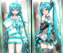 absurdres, bare shoulders, black legwear, blue eyes, blue hair, blue nails, blue neckwear, blush, breasts, cowboy shot, detached sleeves, expressionless, grey shirt, guitar, hair between eyes, hand on own chest, hand up, hands up, hatsune miku, head tilt, highres, holding, holding necktie, holding pillow, hood, hood down, hooded pajamas, huge filesize, indoors, instrument, itogari, long hair, long sleeves, looking at viewer, messy hair, miniskirt, mouth hold, nail polish, necktie, pajamas, pillow, pleated skirt, shirt, skindentation, skirt, small breasts, smile, striped, striped pajamas, thighhighs, twintails, very long hair, vocaloid, zipper