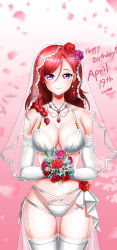 1girl, absurdres, alternate costume, alternate hair length, alternate hairstyle, artist name, bare shoulders, blush, bouquet, bra, braid, breasts, bridal veil, cleavage, collarbone, cy7989, dated, earrings, elbow gloves, flower, gloves, hair flower, hair ornament, happy birthday, highres, holding, holding bouquet, huge filesize, jewelry, large breasts, looking at viewer, love live!, love live! school idol project, medium hair, navel, nishikino maki, panties, petals, purple eyes, purple flower, purple rose, red flower, red hair, red rose, rose, side braid, smile, solo, thigh gap, thighhighs, underwear, veil, wedding, white bra, white gloves, white legwear, white panties