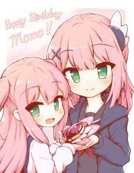 2girls, :d, blouse, blue blouse, blue cardigan, blue serafuku, blush, border, cardigan, character name, child, chiyoda momo, closed mouth, commentary, dual persona, english text, eyebrows visible through hair, green eyes, hair ornament, happy birthday, highres, holding, kareya, long hair, long sleeves, looking at viewer, machikado mazoku, medium hair, multiple girls, neckerchief, open mouth, outline, outside border, overalls, pink hair, pink outline, red neckwear, round teeth, school uniform, shirt, single stripe, smile, teeth, time paradox, two side up, upper body, upper teeth, white border, white shirt, white stripes, wing hair ornament, x hair ornament, younger