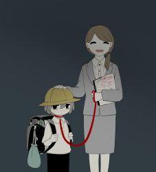 1boy, 1girl, :d, avogado6, backpack, bag, bag charm, bags under eyes, belt collar, black pants, brown hair, charm (object), collar, collared shirt, commentary request, facing viewer, formal, grey jacket, grey skirt, hair over shoulder, hand on another's head, hat, holding, holding leash, jacket, kindergarten uniform, leash, long sleeves, medium hair, open mouth, original, pants, randoseru, red collar, school hat, shirt, skirt, skirt suit, smile, suit, teacher and student, test, white shirt, wing collar