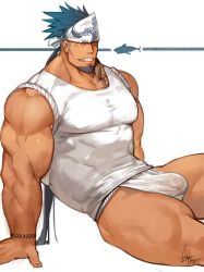 Rule 34 | 1boy, bara, bare arms, bare shoulders, blue eyes, blue hair, bulge, chest tattoo, covered abs, covered erect nipples, covered navel, dark skin, dark skinned male, facial hair, feet out of frame, goatee, gomtang, large pectorals, long hair, male focus, mature male, muscular, muscular male, original, ponytail, shark (gomtang), sharp teeth, shirt, sideburns, sidecut, sitting, sleeveless, sleeveless shirt, solo, tattoo, teeth, thick eyebrows, thick thighs, thighs, tight, tight shirt, veins, wet male underwear, white male underwear, white shirt
