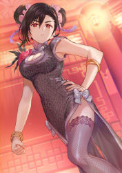 1girl, :<, alternate costume, alternate hairstyle, animal print, armpits, black hair, blurry, blurry background, bracelet, breasts, brown eyes, china dress, chinese clothes, cleavage, cleavage cutout, clenched hand, clothing cutout, corsage, double bun, dress, final fantasy, final fantasy vii, final fantasy vii remake, fishnet legwear, fishnets, gold bracelet, hand on hip, jewelry, lace, lace-trimmed legwear, lace trim, lantern, leopard print, looking at viewer, official alternate costume, ohse, solo, thighhighs, tifa lockhart