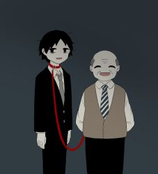 2boys, :d, arms behind back, avogado6, bags under eyes, bald, belt collar, black eyes, black hair, black jacket, black pants, boss, brown vest, collar, collared shirt, commentary request, eyes closed, facing viewer, grey background, grey hair, grey neckwear, holding, holding leash, jacket, leash, male focus, multiple boys, necktie, open mouth, original, pants, red collar, shirt, smile, symbolism, vest, wing collar