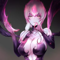 1girl, :p, absurdres, bad id, bad pixiv id, bare shoulders, black background, blood, blush, breasts, center opening, cleavage, collarbone, colored skin, elbow gloves, evelynn (league of legends), fingernails, gloves, half-closed eyes, highres, large breasts, league of legends, licking lips, multicolored hair, pink hair, pink lips, pocari sweat (artist), sharp fingernails, sidelocks, simple background, solo, tongue, tongue out, two-tone hair, white hair, white skin, yellow eyes