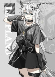 1girl, alternate costume, animal ears, arknights, bag, belt, black belt, black choker, black nails, black shirt, black skirt, black sleeves, character name, choker, collarbone, commentary, cowboy shot, cross, cross necklace, detached sleeves, grey background, grey eyes, grey hair, grin, hair ornament, hairclip, hand up, jewelry, lappland (arknights), looking at viewer, nail polish, necklace, red (girllove), shirt, short hair, shoulder bag, skirt, skull ring, smile, solo, tail, thigh strap, twitter username, wolf ears, wolf girl, wolf tail, zoom layer