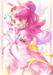 1girl, :d, alternate costume, animal ears, blush, bow, bunny ears, commentary request, cure grace, dress, earrings, eyelashes, hair ornament, hanadera nodoka, happy, healin' good precure, highres, jewelry, looking at viewer, magical girl, open mouth, pink dress, pink eyes, pink hair, precure, rabirin (precure), smile, solo, standing, touki matsuri