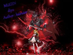 1boy, 1girl, armor, bangs, black background, black coat, black footwear, blonde hair, cape, closed mouth, coat, diyu (mugen), english text, full body, highres, holding, holding sword, holding weapon, lightning, long hair, looking at viewer, m.u.g.e.n, oda nobunaga (sengoku basara), red cape, red eyes, sengoku basara, standing, sword, wanyu (kanade), weapon