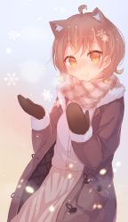 1girl, absurdres, ahoge, animal ear fluff, animal ears, annin miru, annin miru channel, bangs, black mittens, blush, breasts, brown coat, brown eyes, brown hair, brown scarf, brown skirt, closed mouth, coat, commentary request, eyebrows visible through hair, fur-trimmed sleeves, fur trim, hands up, highres, long sleeves, maka neko, mittens, open clothes, open coat, pleated skirt, scarf, shirt, skirt, small breasts, smile, snowflakes, solo, virtual youtuber, white shirt