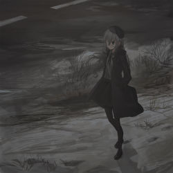 1girl, bangs, beret, black bow, black footwear, black headwear, black jacket, black legwear, black skirt, bow, chihuri, collared shirt, day, dress shirt, eve (chihuri), eyebrows visible through hair, eyepatch, footprints, grey eyes, grey hair, grey shirt, hair between eyes, hair bow, hand in pocket, hat, highres, jacket, loafers, long hair, long sleeves, looking away, medical eyepatch, open clothes, open jacket, original, outdoors, pantyhose, shirt, shoes, skirt, snow, solo, standing, very long hair