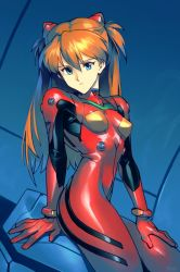 1girl, arm support, ass, blue eyes, bodysuit, breasts, highres, interface headset, looking at viewer, multicolored, multicolored bodysuit, multicolored clothes, neon genesis evangelion, optionaltypo, orange bodysuit, orange hair, pilot suit, plugsuit, red bodysuit, small breasts, solo, soryu asuka langley, two side up