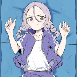 1girl, braid, closed mouth, copyright request, ddari, fingernails, grey eyes, hair between eyes, hands up, highres, jacket, long hair, looking at viewer, lying, on back, open clothes, open jacket, pants, purple hair, purple jacket, purple pants, shirt, solo, track jacket, track pants, track suit, twin braids, wavy mouth, white shirt, yoga mat