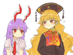 2girls, animal ears, bad id, bad pixiv id, bangs, black dress, blonde hair, blouse, blush, bunny ears, chinese clothes, commentary, dress, hands in opposite sleeves, heart, height difference, junko (touhou), long hair, long sleeves, multiple girls, necktie, pom pom (clothes), purple hair, red eyes, red neckwear, reisen udongein inaba, ribbon, sasa kichi, short sleeves, simple background, smug, sweatdrop, tabard, touhou, upper body, very long hair, white background, white blouse, wide sleeves, yellow ribbon