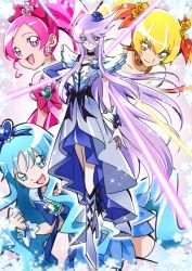 4girls, bangs, black bow, blonde hair, blue bow, blue choker, blue eyes, blue hair, blue skirt, bow, choker, clenched hand, collarbone, commentary request, cure blossom, cure marine, cure moonlight, cure sunshine, dress, earrings, elbow gloves, flower, flower earrings, gloves, hair flower, hair ornament, hair ribbon, hanasaki tsubomi, heart, heartcatch precure!, high ponytail, jewelry, kurumi erika, long hair, looking at viewer, magical girl, multiple girls, myoudouin itsuki, open mouth, orange bow, parted bangs, petals, pink bow, pink eyes, pink hair, ponytail, precure, puffy short sleeves, puffy sleeves, purple eyes, purple hair, ribbon, rose, short sleeves, sidelocks, single elbow glove, skirt, smile, thighhighs, tsukikage oyama, tsukikage yuri, twintails, very long hair, waist bow, wavy hair, white dress, white legwear, wrist cuffs, yellow eyes