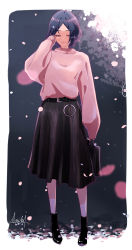 1girl, absurdres, ankle boots, arm up, bag, bangs, black skirt, blue hair, blurry, blurry background, blurry foreground, boots, cherry blossoms, depth of field, eyes closed, full body, hand in hair, hayami kanade, highres, holding, holding bag, idolmaster, idolmaster cinderella girls, leather belt, long skirt, long sleeves, night, parted bangs, petals, pink sweater, pleated skirt, signature, skirt, sleeves past wrists, smile, solo, sweater, tsukuda hayato