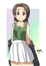 1girl, artist name, bangs, blue jacket, brown eyes, brown hair, closed mouth, commentary, cowboy shot, girls und panzer, green shirt, highres, jacket, jacket pull, long sleeves, looking at viewer, military, military uniform, miniskirt, off shoulder, ooarai military uniform, osamada meika, outside border, parted bangs, pleated skirt, sawa azusa, shirt, short hair, signature, simple background, skirt, smile, solo, sweatdrop, tank top, uniform, white background, white skirt