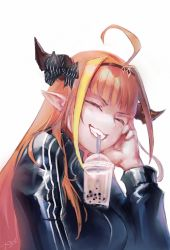 1girl, absurdres, ahoge, alternate costume, bangs, black jacket, blonde hair, bow, bubble tea challenge, cup, dragon girl, dragon horns, drinking straw, eyebrows visible through hair, eyes closed, facing viewer, hand on own face, head rest, headband, highlights, highres, hololive, horn bow, horns, jacket, kiryuu coco, long hair, long sleeves, mr.holmes, multicolored hair, orange hair, pointy ears, red eyes, signature, simple background, smile, solo, streaked hair, striped, striped bow, teeth, track suit, virtual youtuber, white background