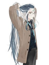1boy, alternate costume, androgynous, aqua hair, black pants, blue hair, brown coat, buttons, casual, cczyjs, coat, cowboy shot, eyeshadow, face, fate/grand order, fate (series), forehead jewel, glasses, hat, highres, long hair, makeup, male focus, multicolored hair, open clothes, open coat, orange eyes, pants, qin shi huang (fate), red eyeshadow, round eyewear, solo, streaked hair, tying hair, very long hair, white hair